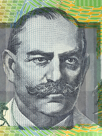 John Monash portrait from Australian money 版權商用圖片