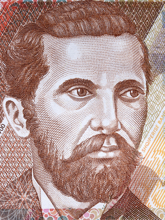 Naim Frasheri portrait from Albanian money Stok Fotoğraf