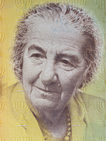 Golda Meir portrait from Israeli money