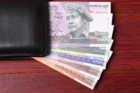 Cambodian money in the black wallet Stok Fotoğraf
