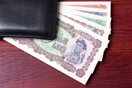 Old Albanian money in the black wallet Stok Fotoğraf