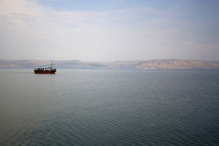 Boat on the Sea of Galilee in Israel
