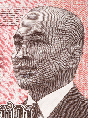 King Norodom Sihanouk, a portrait from Cambodian money Stockfoto