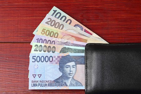 Old Indonesian money in the black wallet