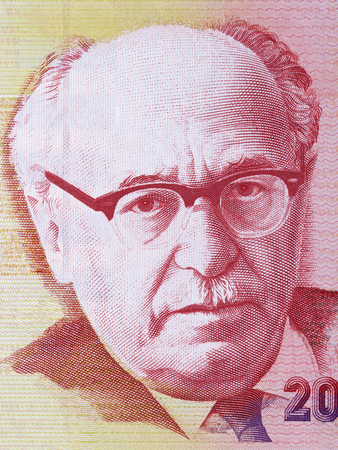 Zalman Shazar portrait from Israeli money