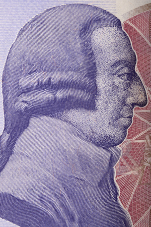 Adam Smith portrait from English money 스톡 콘텐츠