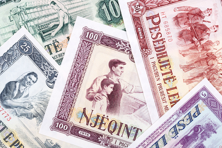 Old Albanian Leke, a business background with money from Albania
