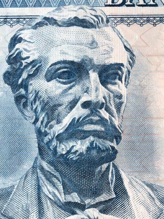 Naim Frasheri portrait from Albanian money Imagens