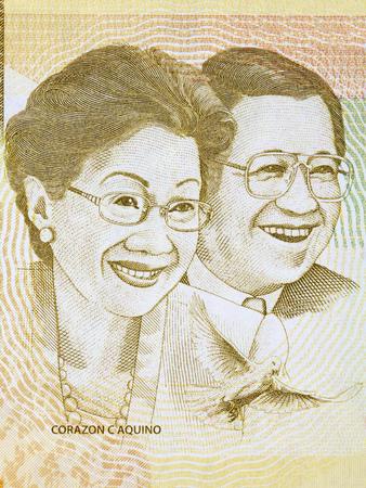 """Corazon C. Aquino, Benigno Simeon """"Ninoy"""" Aquino, Jr portrait from Philippine peso"""