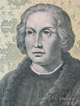 Christopher Columbus portrait from old Italian money