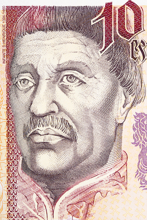 Infante Don Henrique of Portugal portrait from Portuguese money Editorial