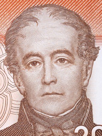 Andres Bello portrait from Chilean money Editorial