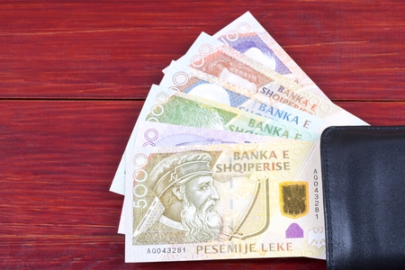 Money from Albania in the black wallet