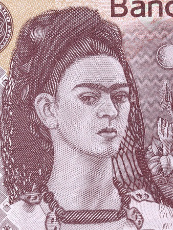 Frida Kahlo, a portrait from Mexican money Redakční
