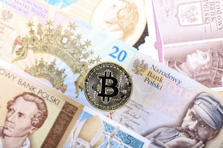Bitcoin coin on the background of Polish banknotes Zdjęcie Seryjne