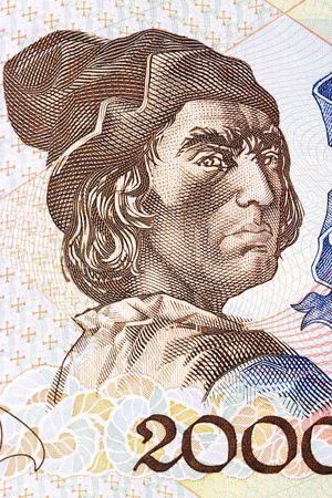 Bartolomeu Dias, a portrait from Portuguese money Editorial