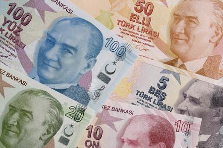 Turkish Lira, a background with money from Turkey