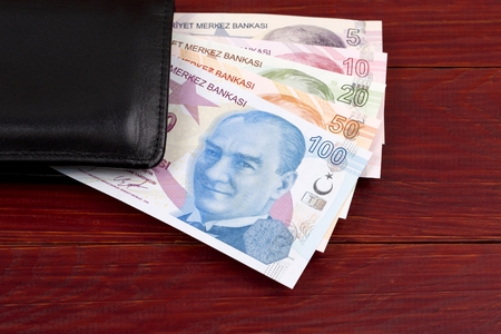 Turkish Lira in the black wallet Stok Fotoğraf