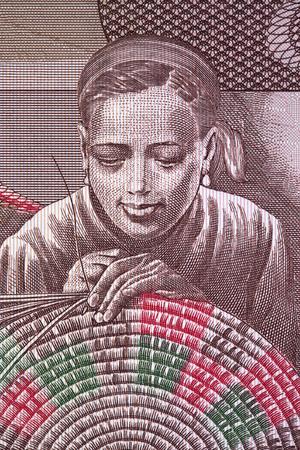 Woman woven basket portrait from Ethiopian money