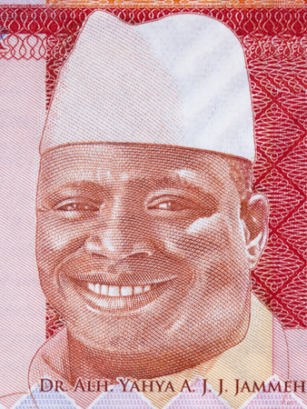Yahya Jammeh portrait from Gambian money Banque d'images