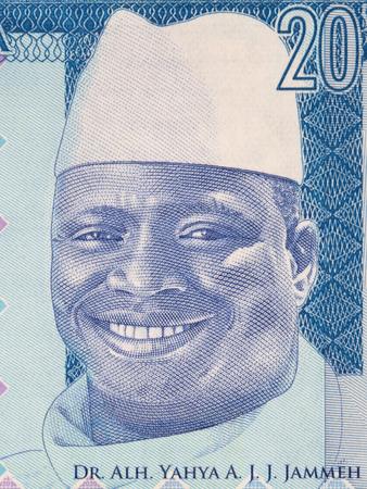 Yahya Jammeh portrait from Gambian money Stock Photo
