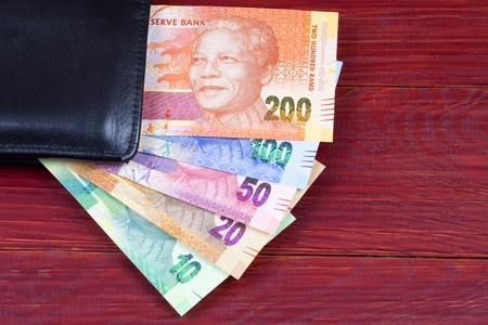 South African money in the black wallet Reklamní fotografie