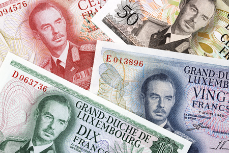 Luxembourgish money a business background Stock Photo