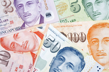 Singapore dollars, a business background Standard-Bild