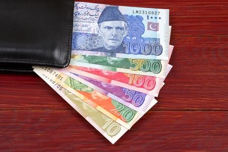 Pakistani money in the black wallet
