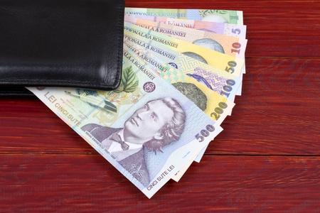 Romanian money in the black wallet