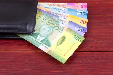 Samoan money in the black wallet Stock Photo