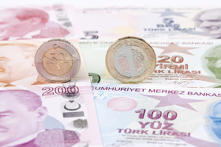 Turkish lira coins on the background of banknotes