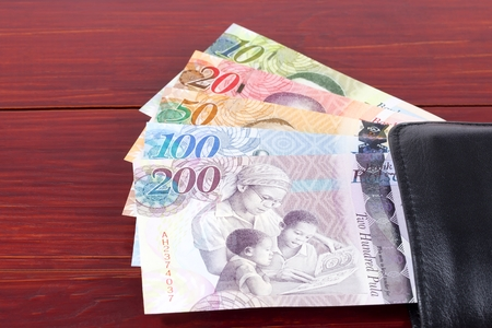 Money from Botswana in the black wallet