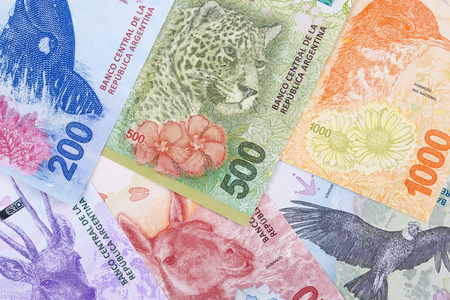 New Argentine Pesos a business background Stock Photo