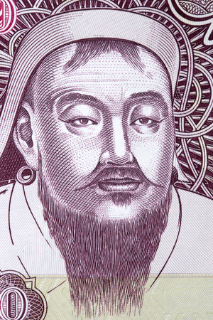 Genghis Khan portrait from Mongolian money Editorial