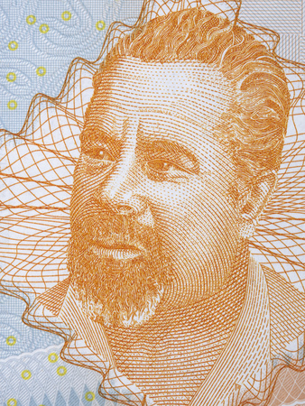 Mehmedalija Mak Dizdar portrait from Bosnia and Herzegovina money Editorial