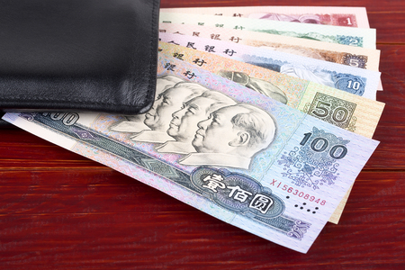 Old Chinese money in the black wallet