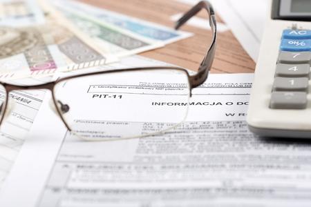 Información fiscal polaca PIT-11 Foto de archivo