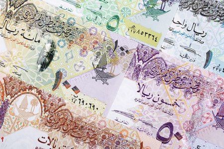 Money from Qatar, a business background Stock Photo