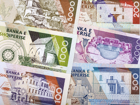 Albanian money - reverse side, a business background