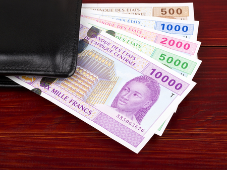 Central African money in the black wallet Stock Photo
