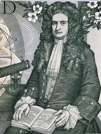 Isaac Newton un ritratto dal vecchio denaro inglese