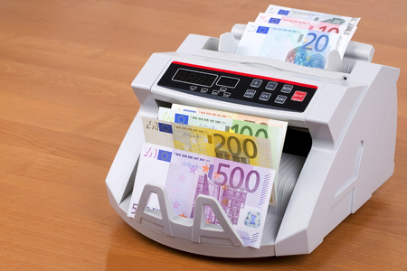 European money in a counting machine