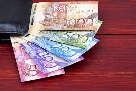 Kenianische Schilling im schwarzen Portemonnaie