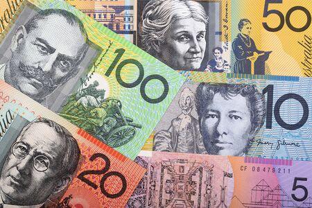Australische Dollar, ein geschäftlicher Hintergrund Standard-Bild