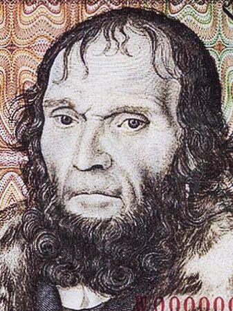 El astrónomo Johannes Schöner un retrato del antiguo Deutsche Marks