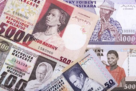 Old money from Madagascar a business background Stock Photo