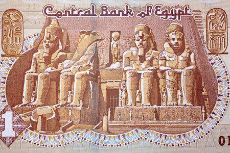 Temples d'Abou Simbel de la livre égyptienne Banque d'images