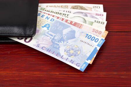 Austrian schilling in the black wallet
