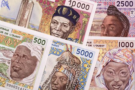 Old West African States money a business background Stock Photo